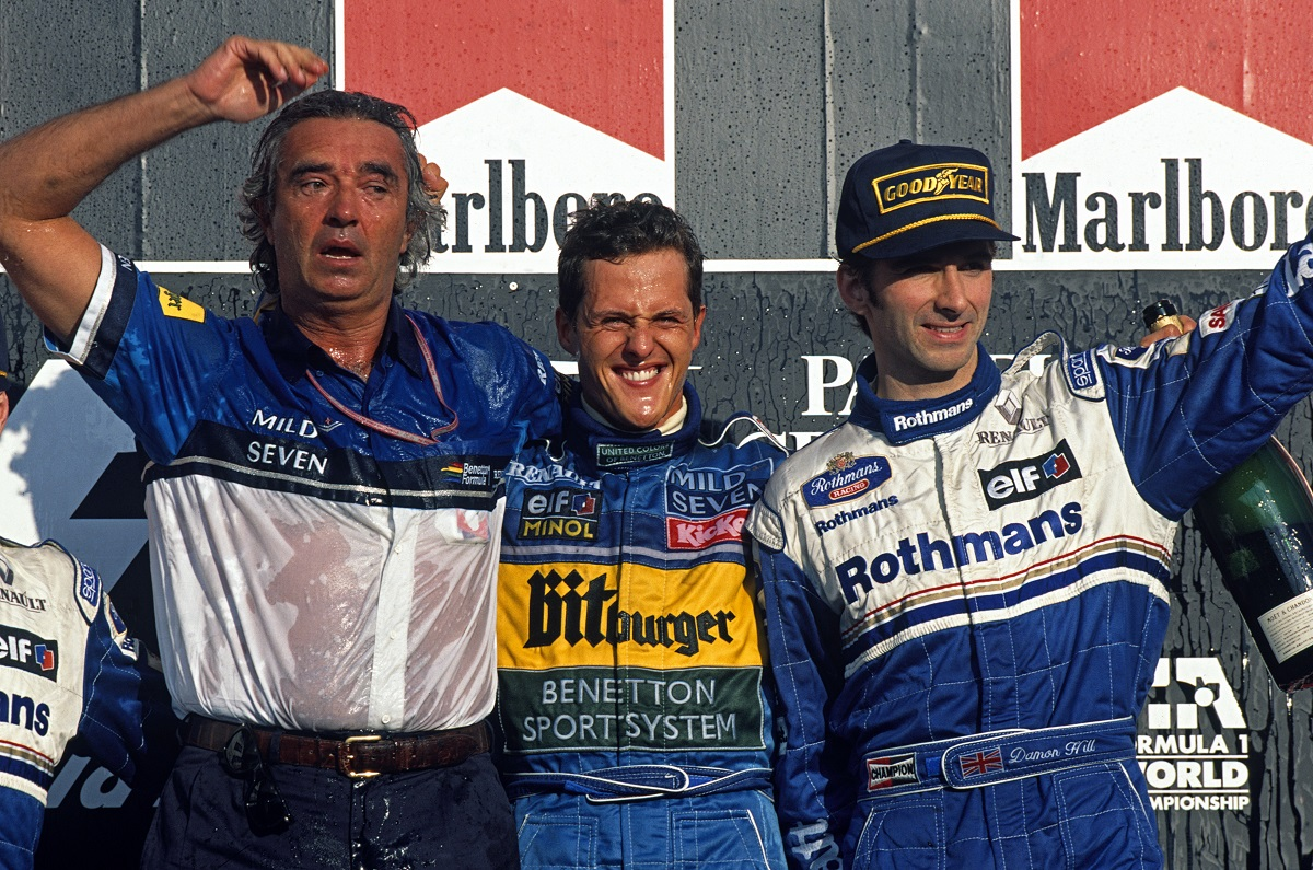 flavio briatore, michael schumacher, damon hill, aida, williams, benetton