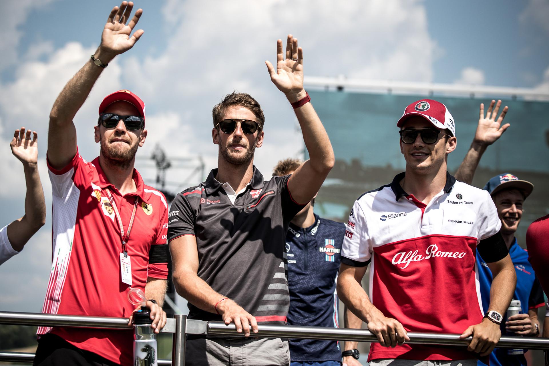 Sebastian Vettel Romain Grosjean Charles Leclerc racingline, racinglinehu, racingline.hu