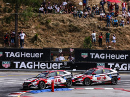 18 MONTEIRO Tiago, (POR), KCMG, Honda Civic Type R TCR, action and 09 TASSI Attila, (HUN), Kcmg, Honda Civic Type R TCR, action during the 2019 FIA WTCR World Touring Car cup of Portugal, Vila Real from july 5 to 7 - Photo Xavi Bonilla / DPPI