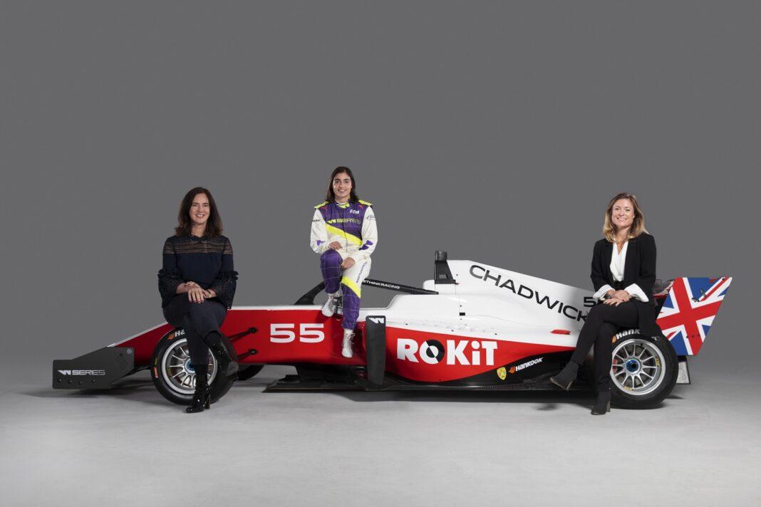 Catherine Bond Muir (W Series CEO), Jamie Chadwick (W Series 2019 Champion) and Fern Townend (ROKiT Global Sponsorship Manager), racingline.hu