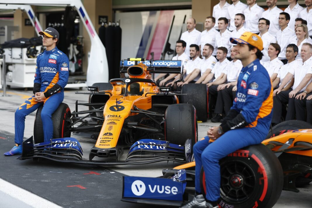 Lando Norris, McLaren and Carlos Sainz, McLaren pose for team photo