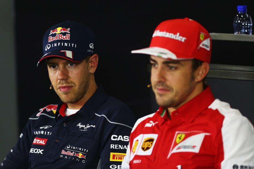 Sebastian Vettel, Fernando Alonso, racingline