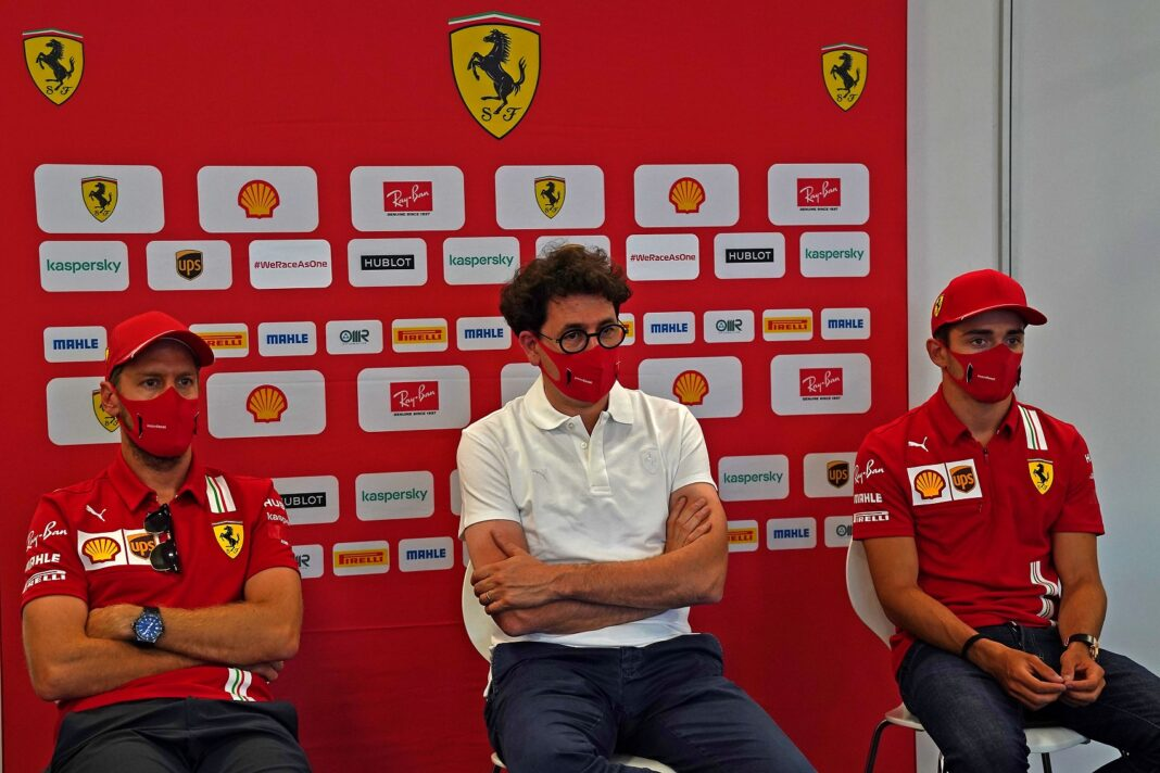 Sebastian Vettel, Mattia Binotto, Charles Leclerc, Ferrari, racingline