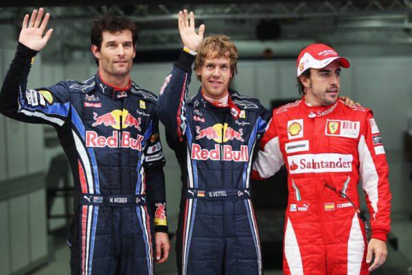 Mark Webber, Sebastian Vettel, Fernando Alonso